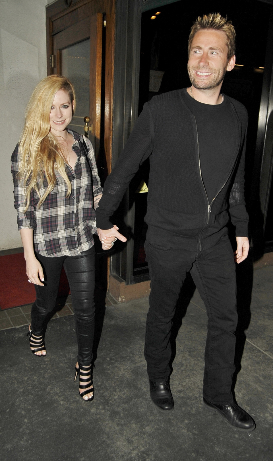EXCLUSIVE: Avril Lavigne and Chad Kroeger at Madeo for dinner